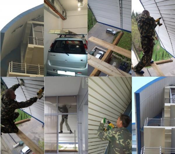 Проведены высотные работы по ремонту подшивки козырька балкона
